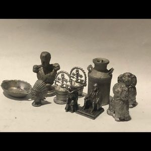 Vintage pewter/cast miniatures unique lot of 10